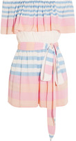 Mara Hoffman Off-the-shoulder Striped Crinkled-voile Playsuit - Blush