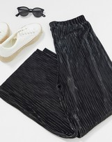 Thumbnail for your product : Pimkie plisse wide leg trouser in black