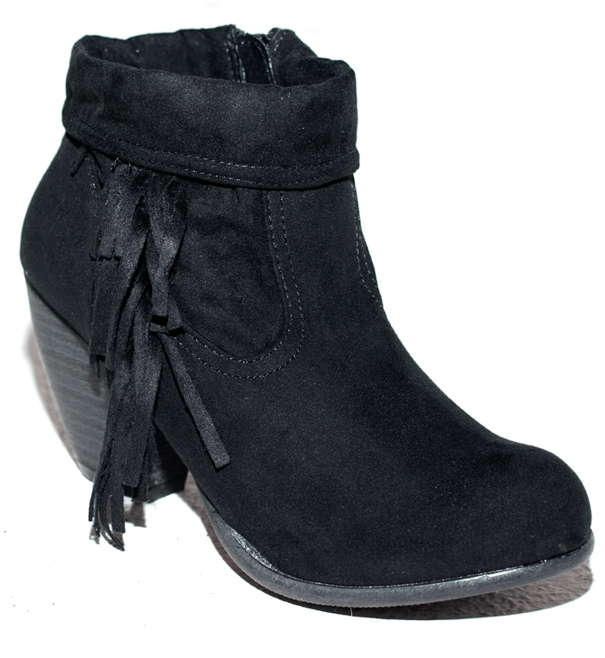 E.m. Give 'em the Boot Fringe Bootie in Black