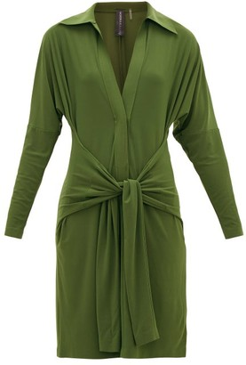 Norma Kamali Tie-waist Point-collar Jersey Dress - Womens - Khaki