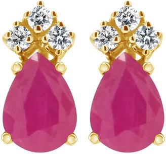 14K Pear Shaped Precious Gemstone & 1/10 cttw Diamond Earrings