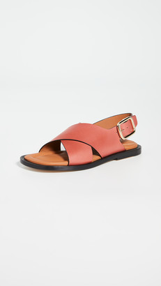 Joseph Leather Crisscross Sandals