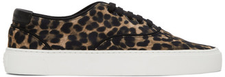 Saint Laurent Black and Brown Leopard Venice Sneakers