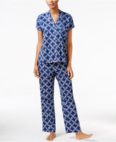 Charter Club Satin-Trimmed Printed Pajama Set, Only at Macy's