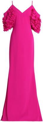 Badgley Mischka Cold-shoulder Appliqued Crepe Gown