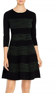 T Tahari Striped Fit-and-Flare Dress