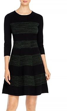 T Tahari Striped Fit-and-Flare Dress