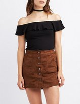 Charlotte Russe Ribbed Ruffle Off-The-Shoulder Top