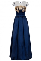 Quiz Navy And Gold Embroidered Maxi Dress