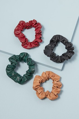 Set of 4 Leather Scrunchies