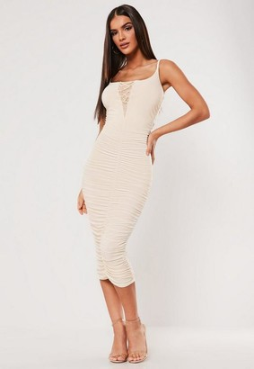 Missguided x Stone Slinky Ruched Lace Up Midi Dress