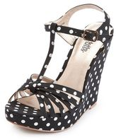 Charlotte Russe Canvas Polka Dot T-Strap Wedge