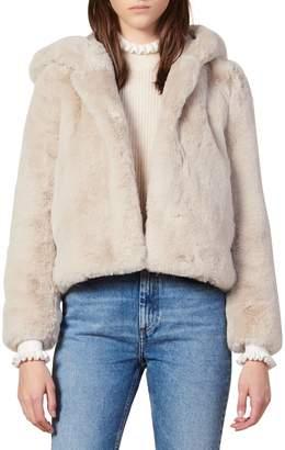 Sandro Mirage Oversized Faux Fur Hooded Jacket