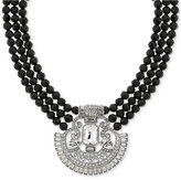 2028 Silver-Tone Crystal and Black Beaded Collar Necklace