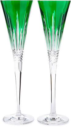 Waterford Crystal Lismore Diamond Toasting Flutes, Emerald, Set of 2