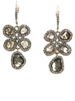 Tresor Collection - Organic Diamond Earring With White Diamond Pave Frame Set in 18k Rose Gold