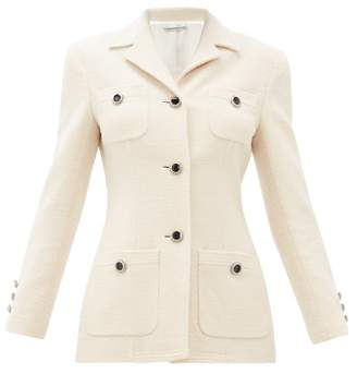 Alessandra Rich Chain Button Tailored Wool Blend Jacket - Womens - Ivory