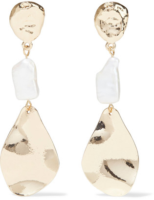 Kenneth Jay Lane Hammered Gold-plated Faux Pearl Earrings