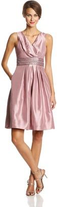 JS Boutique Women's Shantung Wrap Dress with Beaded Empire