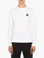 Stone Island White Long-Sleeve Cotton T-Shirt