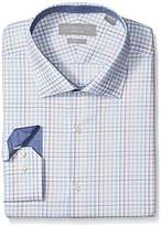Perry Ellis Collection Men's Slim Fit Stretch Multicolor Check Dress Shirt with Collar