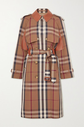 Burberry Double-breasted Checked Gabardine And Leather Trench Coat - Brown