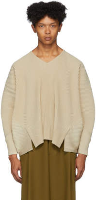 Issey Miyake Homme Plisse Beige Pleated V-Neck Long Sleeve T-Shirt