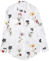 Equipment Ansley Floral-print Washed-silk Shirt - White