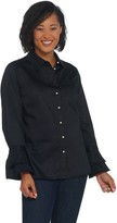 Belle by Kim Gravel Ruffled Sleeve Shirt with Pearl Buttons
