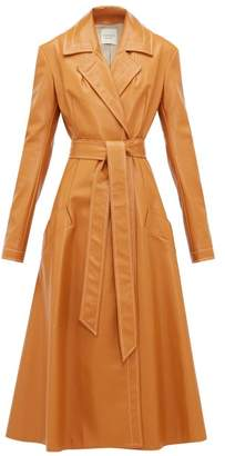 A.W.A.K.E. Mode Gingerbread Belted Leather Coat - Womens - Orange
