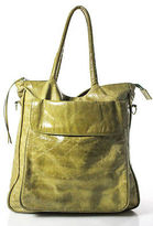 Latico Leathers Light Green Distressed Leather Silver Tone Accents Tote Bag