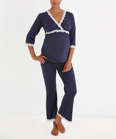 Belabumbum Navy & Cream Polka Dot Surplice Tunic & Lounge Pants
