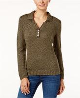 Karen Scott Petite Johnny-Collar Marled Sweater, Only at Macy's