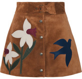 RED Valentino Leather-trimmed Suede Mini Skirt - Tan