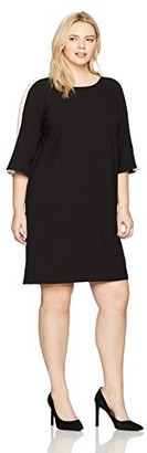 Julian Taylor Women's Plus Size Full Figured A-line Dress with Striped Sleeves