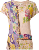 Etro floral pattern knitted T-shirt - women - Linen/Flax/Polyester/Sequin - 42
