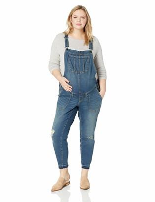 Motherhood Maternity Women's Maternity Plus Size Side Panel Skinny Ankle Length Denim Overalls