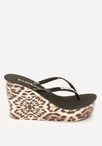Bebe Leopard High Flip Flops