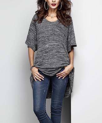 Melange Home Reborn Collection Women's Tunics Charcoal - Charcoal Boyfriend Tunic - Women