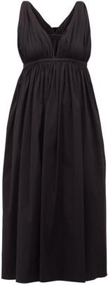 Rochas Twist-strap Cotton-blend Midi Dress - Black