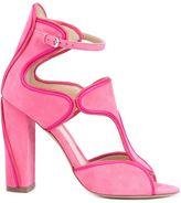 Monique Lhuillier buckled chunky high heel sandals