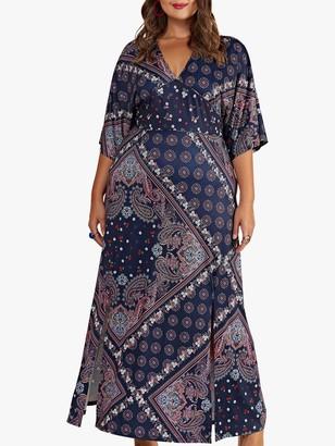 Yumi Curves Ditsy Scarf Print Maxi Dress, Navy