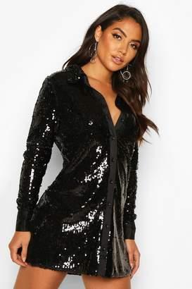 boohoo Full Sequin Satin Trim Oversized Shirt Dress
