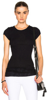 Enza Costa Rib Fitted Cap Sleeve Tee in Black.