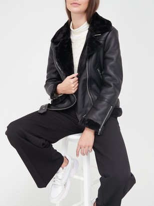 Topshop PU Aviator Biker Jacket - Black