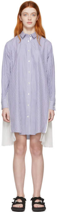 Sacai Blue and White Striped Poplin Zip Dress