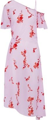 Preen Line Calithea Cold-shoulder Shirred Floral-print Crepe De Chine Midi Dress