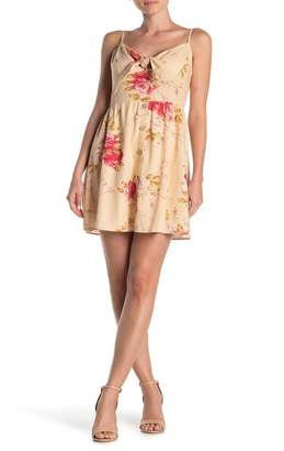 SWEET RAIN Floral Tie Button Fit & Flare Dress