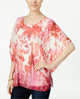 JM Collection Floral-Print Poncho Top, Only at Macy's