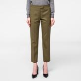 Paul Smith Women's Slim-Fit Olive Green Merino Wool Trousers